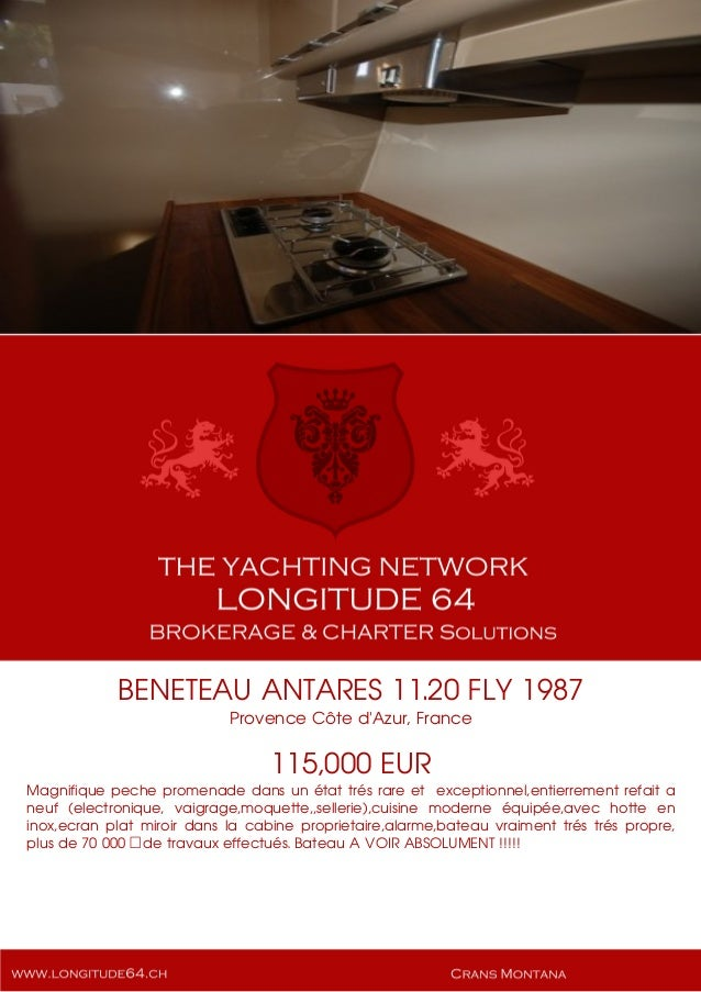 BENETEAU ANTARES 11.20 FLY, 1987, 115.000€ For Sale Yacht Brochure. Presented By longitude64.ch