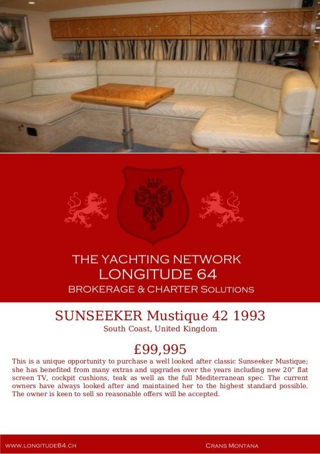 SUNSEEKER Mustique 42, 1993, £99,995 For Sale Yacht Brochure. Presented By longitude64.ch