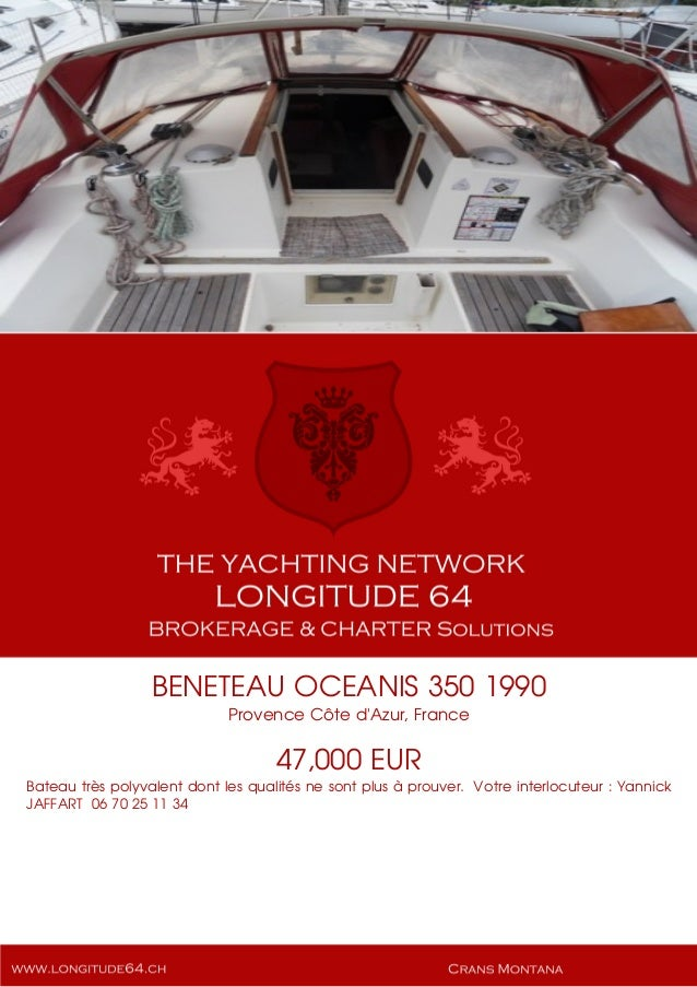 BENETEAU OCEANIS 350, 1990, 47.000€ For Sale Yacht Brochure. Presented By longitude64.ch
