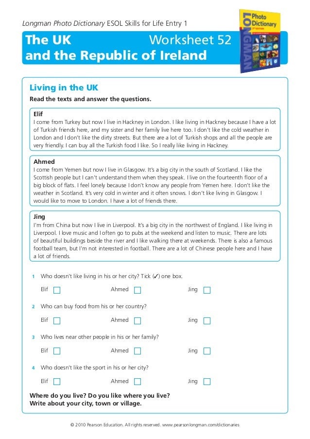 Esol entry 1 reading worksheets
