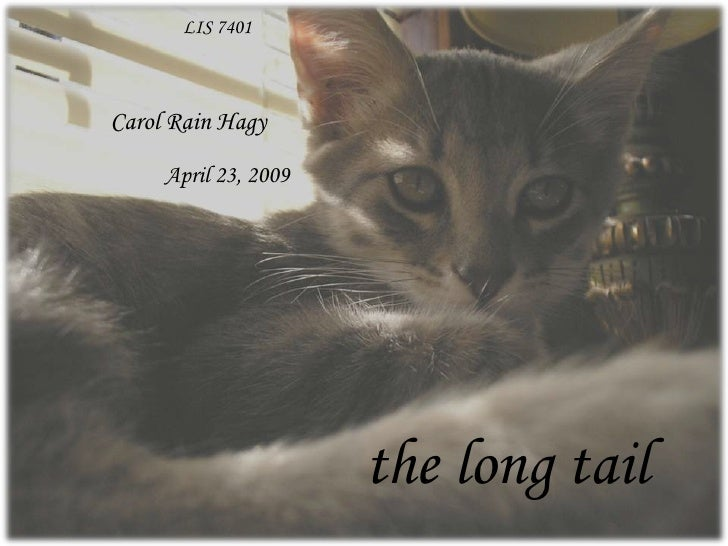 LIS 7401<br />Carol Rain Hagy<br />April 23, 2009<br />the long tail<br />