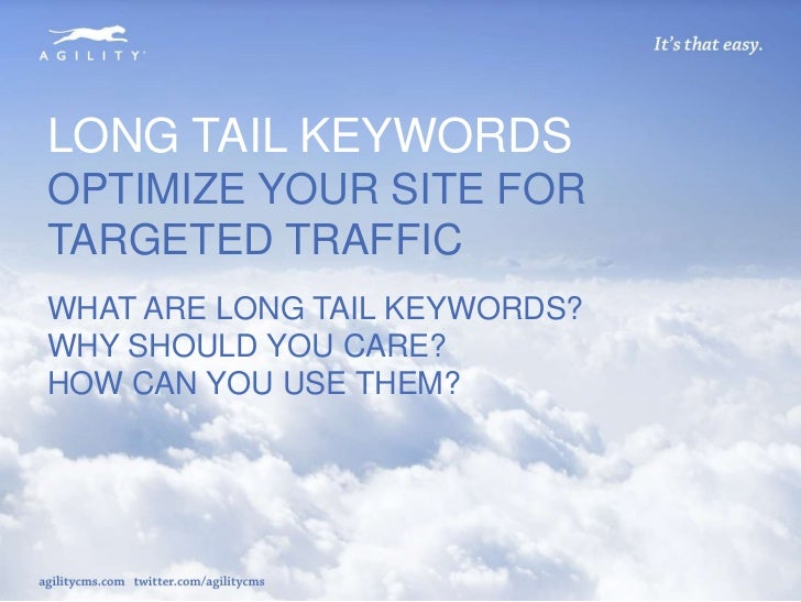 LONG TAIL KEYWORDSOPTIMIZE YOUR SITE FORTARGETED TRAFFICWHAT ARE LONG TAIL KEYWORDS?WHY SHOULD YOU CARE?HOW CAN YOU USE TH...