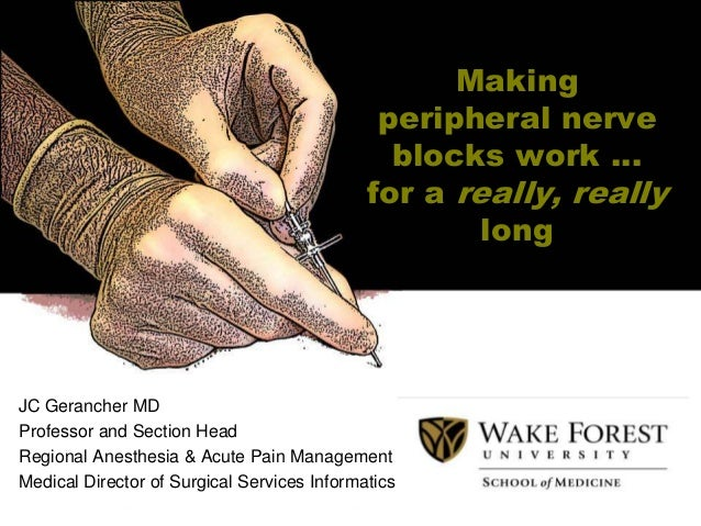 Making peripheral nerve blocks work … for a really, really long  JC Gerancher MD Professor and Section Head Regional Anest...