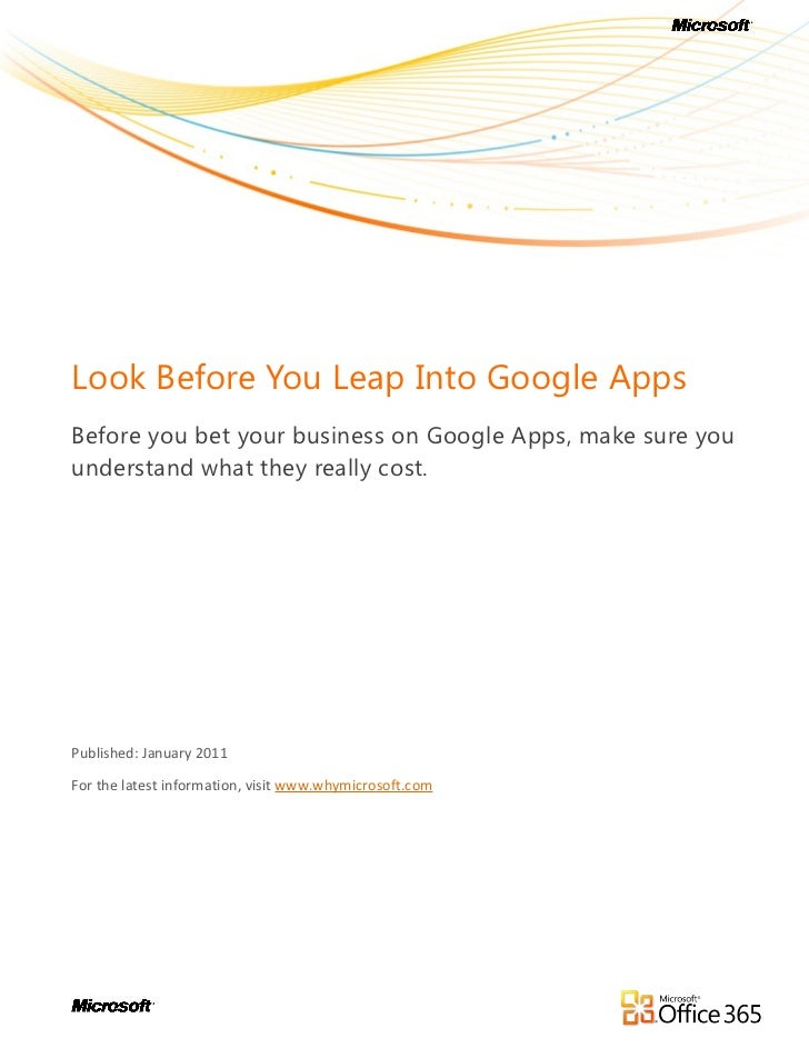 White Paper: Look Before You Leap Into Google Apps