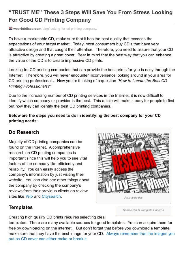 """TRUST ME"" These 3 Steps Will Save You From Stress Looking For Good CD Printing Company weprintdiscs.com /blog/looking-for..."