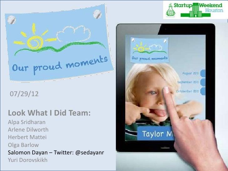 """Startup Weekend Houston winners - """"Proud moments"""" App"""