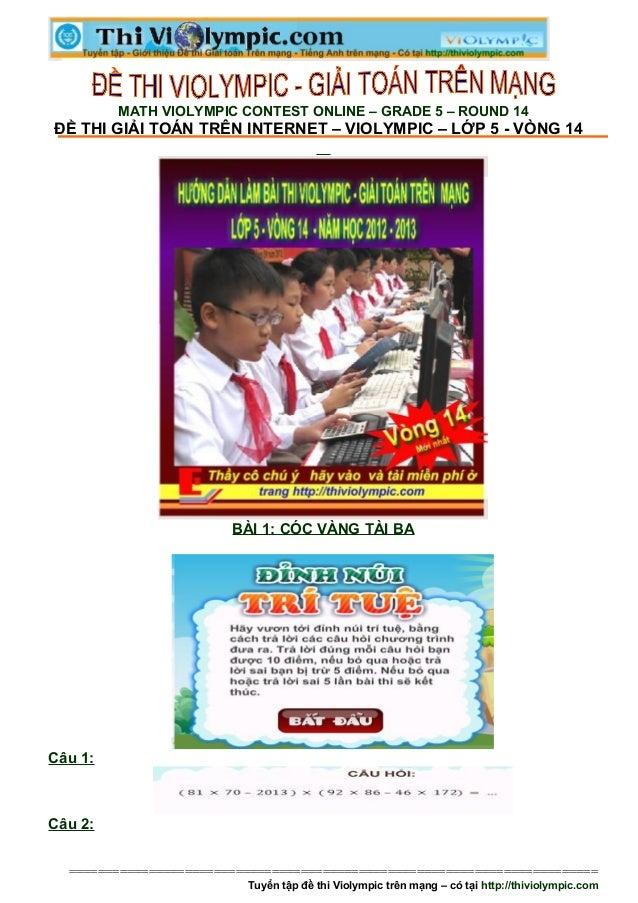 Hướng dẫn học sinh lớp 5 giải toán trên mạng vòng 14 - năm học 2012 - 2013