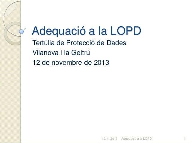 Adequació a la LOPD