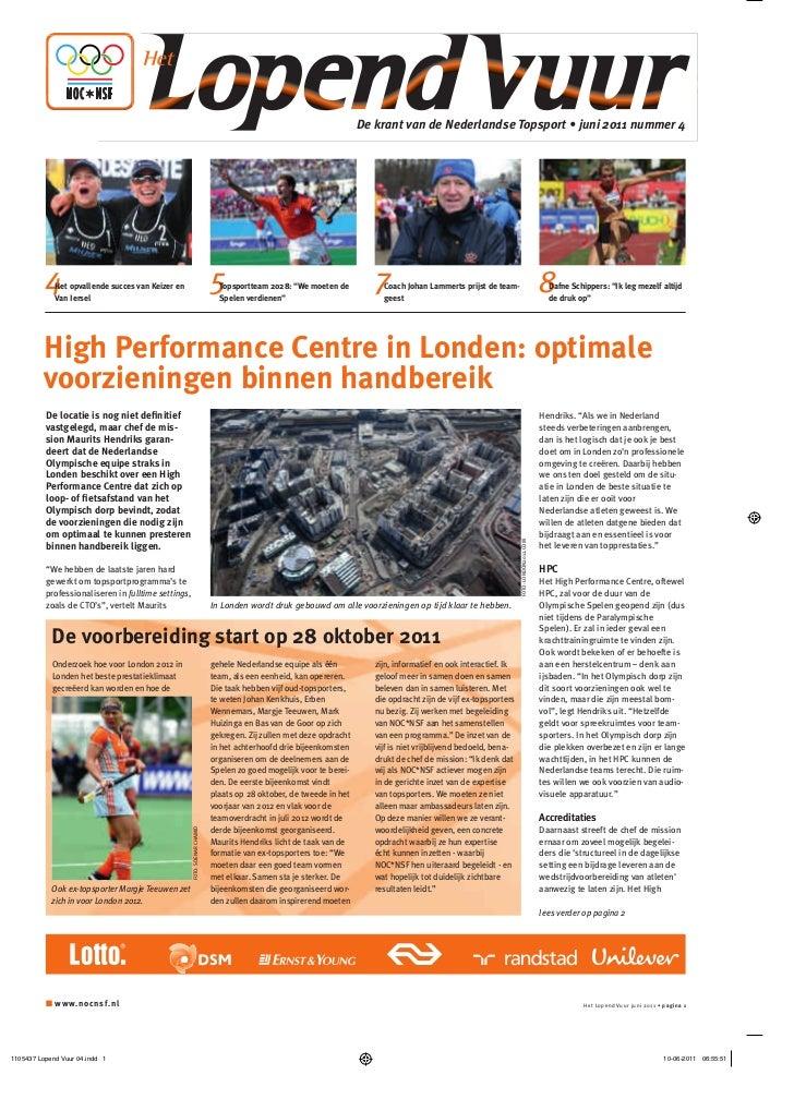 Lopend Vuur, de krant van de Nederlandse topsport, nr. 4, juni 2011