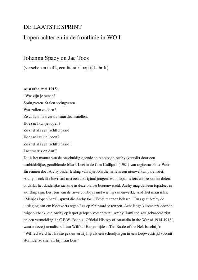 DE LAATSTE SPRINTLopen achter en in de frontlinie in WO IJohanna Spaey en Jac Toes(verschenen in 42, een literair looptijd...