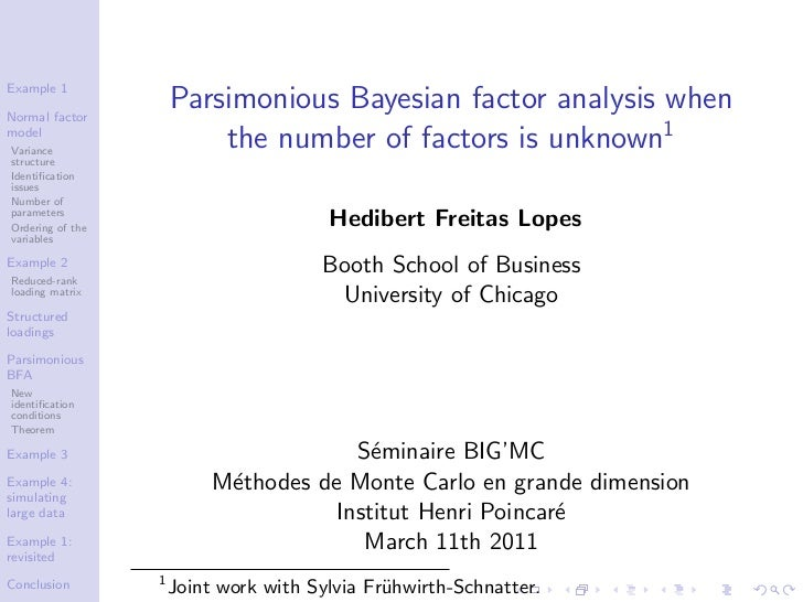 Example 1Normal factor                      Parsimonious Bayesian factor analysis whenmodelVariance                       ...