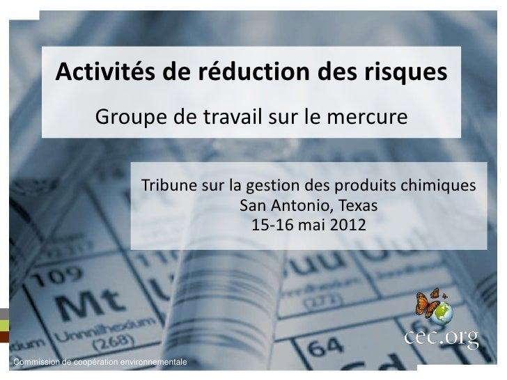 Activités de réduction des risques                   Groupe de travail sur le mercure                              Tribune...