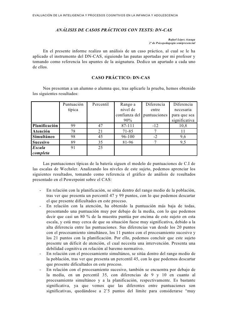 EVALUACIÓN DE LA INTELIGENCIA Y PROCESOS COGNITIVOS EN LA INFANCIA Y ADOLESCENCIA                ANÁLISIS DE CASOS PRÁCTIC...