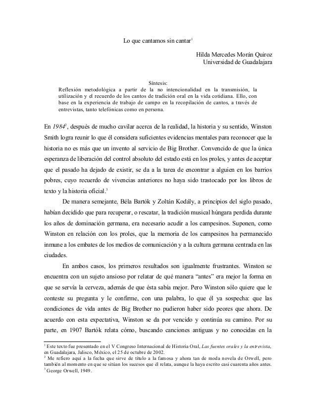 Lo que cantamos sin cantar1 Hilda Mercedes Morán Quiroz Universidad de Guadalajara Síntesis: Reflexión metodológica a part...