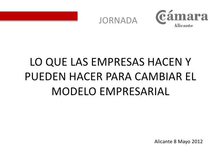 JORNADA LO QUE LAS EMPRESAS HACEN YPUEDEN HACER PARA CAMBIAR EL     MODELO EMPRESARIAL                      Alicante 8 May...