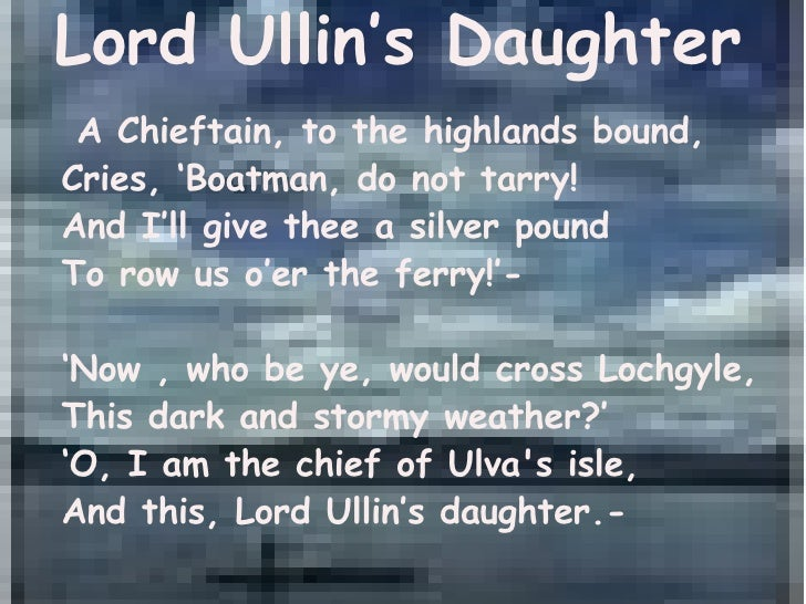Lord Ullin's Daughter by Thomas Campbell- Analysis