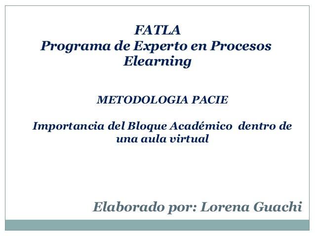 FATLA Programa de Experto en Procesos Elearning METODOLOGIA PACIE Importancia del Bloque Académico dentro de una aula virt...