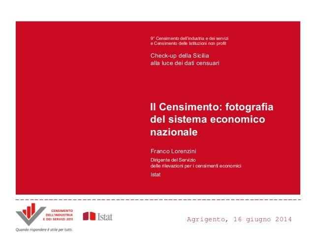 Agrigento, 16 giugno 2014 Principali innovazioni e risultati del Censimento Censimento dell'industria e dei servizi 2011 A...