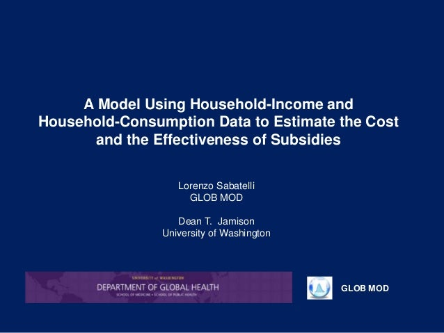 GLOB MOD A Model Using Household-Income and Household-Consumption Data to Estimate the Cost and the Effectiveness of Subsi...
