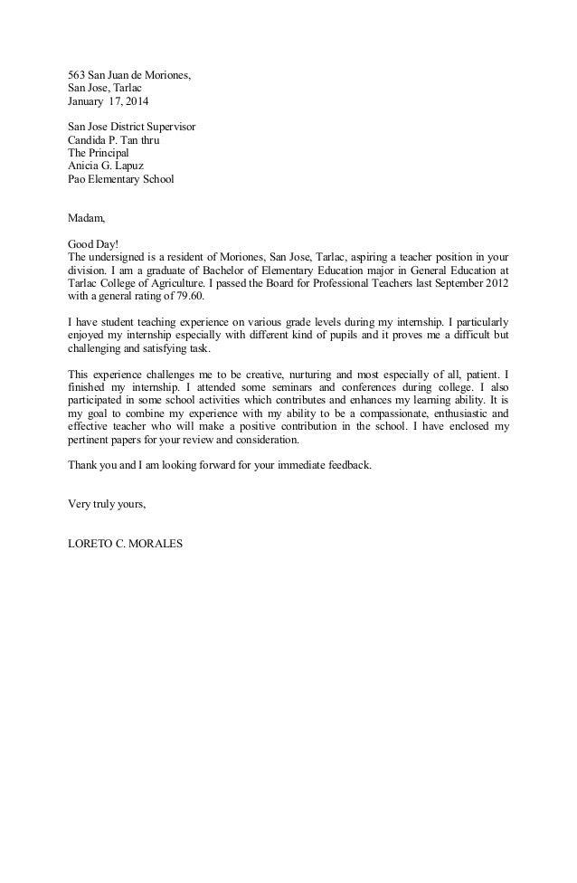 563 San Juan de Moriones, San Jose, Tarlac January 17, 2014 San Jose District Supervisor Candida P. Tan thru The Principal...