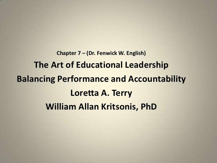 Ch. 7 Balanching Performance and Accountability by Fenwick W. English, PhD