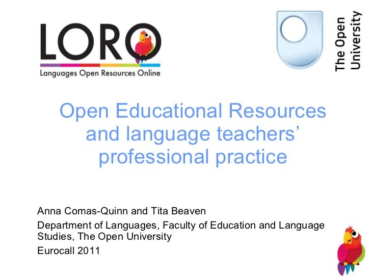 OER and language teachers professional practices, LORO Eurocall 2011
