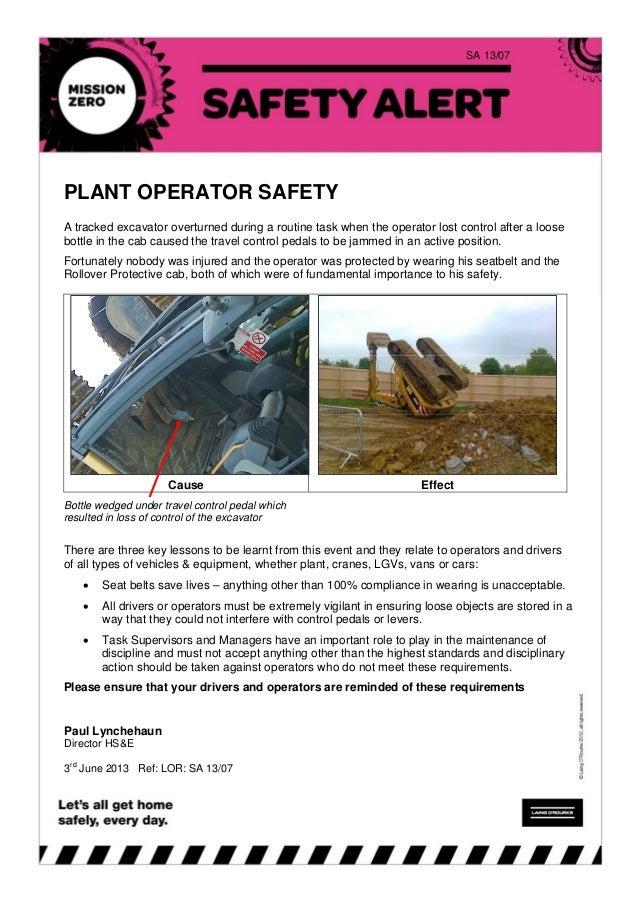 Lor safety alert 13 07 plant