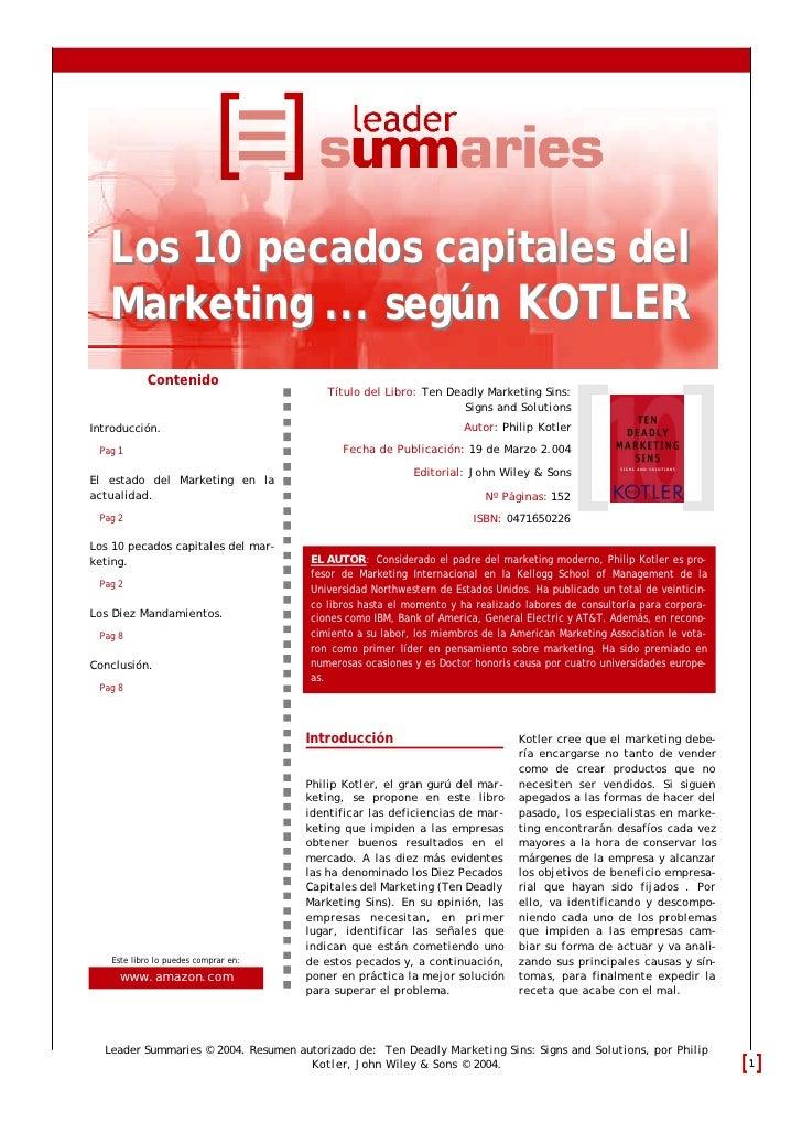Los 10 pecados capitales del    Marketing ... según KOTLER             Contenido                                          ...