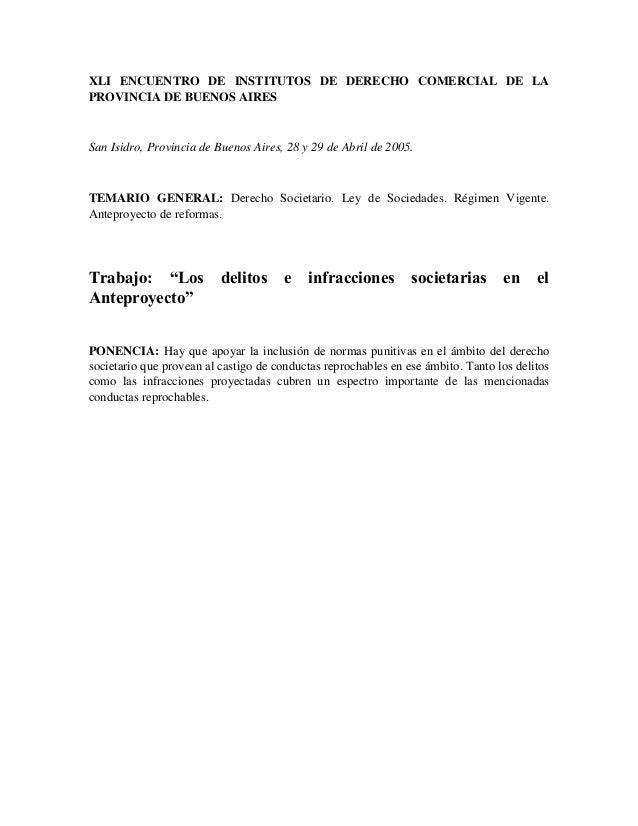 XLI ENCUENTRO DE INSTITUTOS DE DERECHO COMERCIAL DE LAPROVINCIA DE BUENOS AIRESSan Isidro, Provincia de Buenos Aires, 28 y...