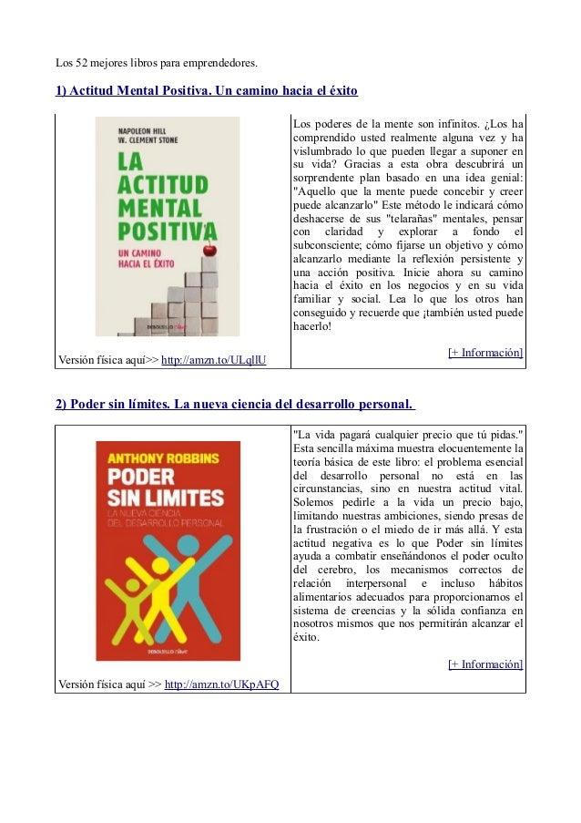 Los 52 mejores libros para emprendedores.1) Actitud Mental Positiva. Un camino hacia el éxito                             ...