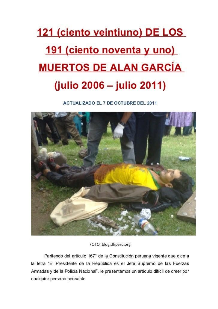 Los 191 Muertos de Alan GarcíA