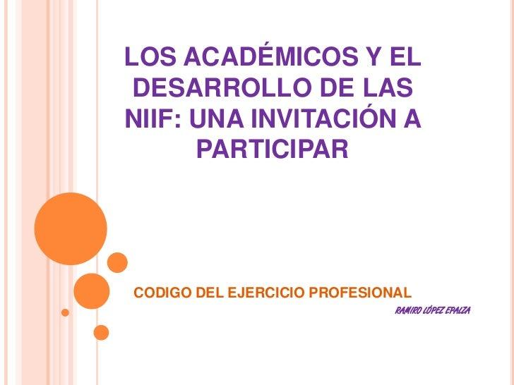 Los académicos y el desarrollo de las niif