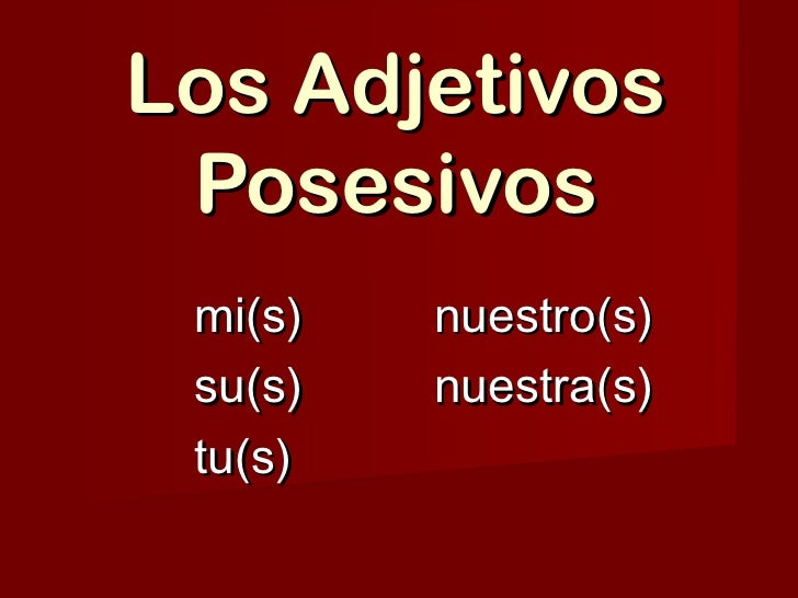 Los Adjetivos Posesivos mi(s)   nuestro(s) su(s)   nuestra(s) tu(s)