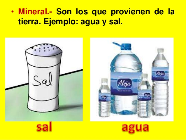 ejemplos de alimentos de origen mineral - Imagui
