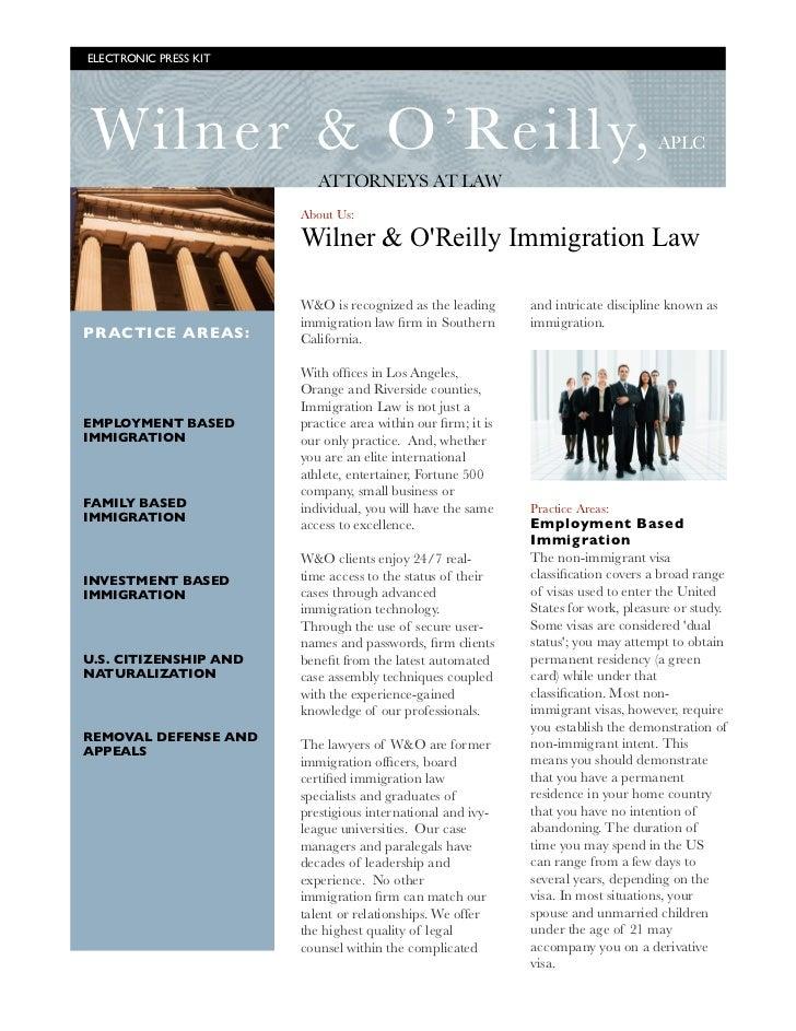 ELECTRONIC PRESS KIT    Wiln er & O'Reilly,                                                                APLC           ...