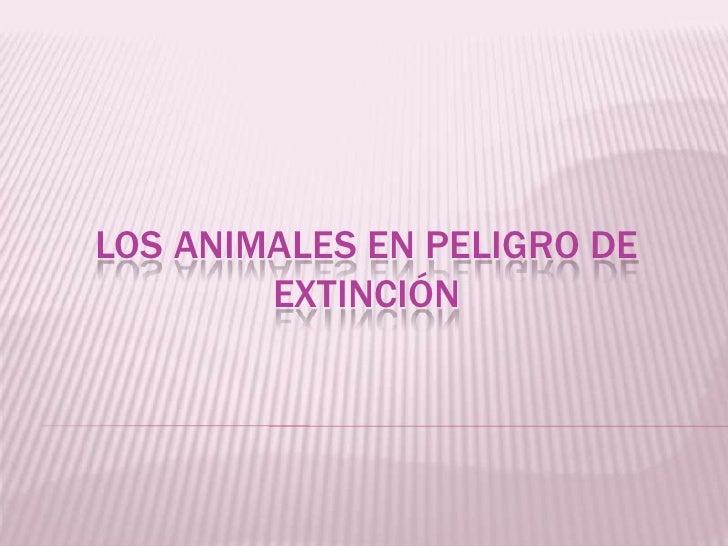 LOS ANIMALES EN PELIGRO DE        EXTINCIÓN
