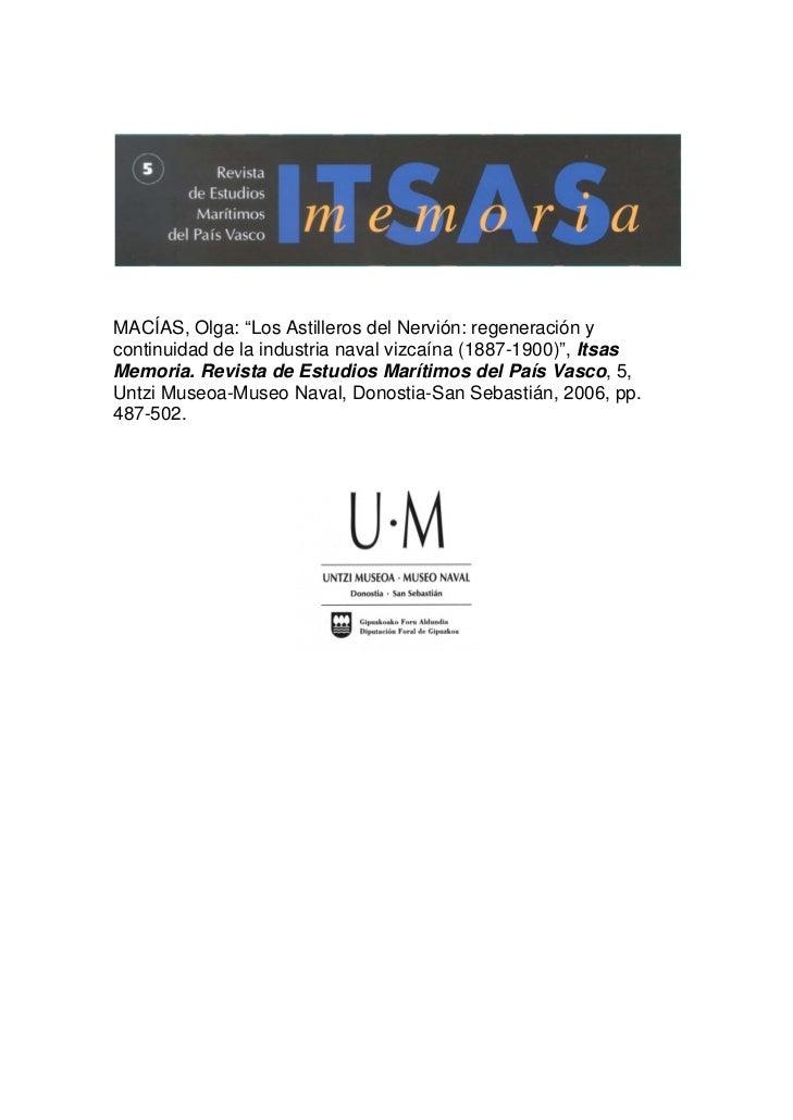 """MACÍAS, Olga: """"Los Astilleros del Nervión: regeneración ycontinuidad de la industria naval vizcaína (1887-1900)"""", ItsasMem..."""