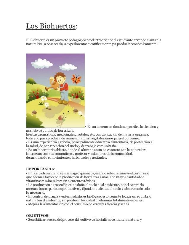 Los Biohuertos: El Biohuerto es un proyecto pedagógico productivo donde el estudiante aprende a amar la naturaleza, a obse...