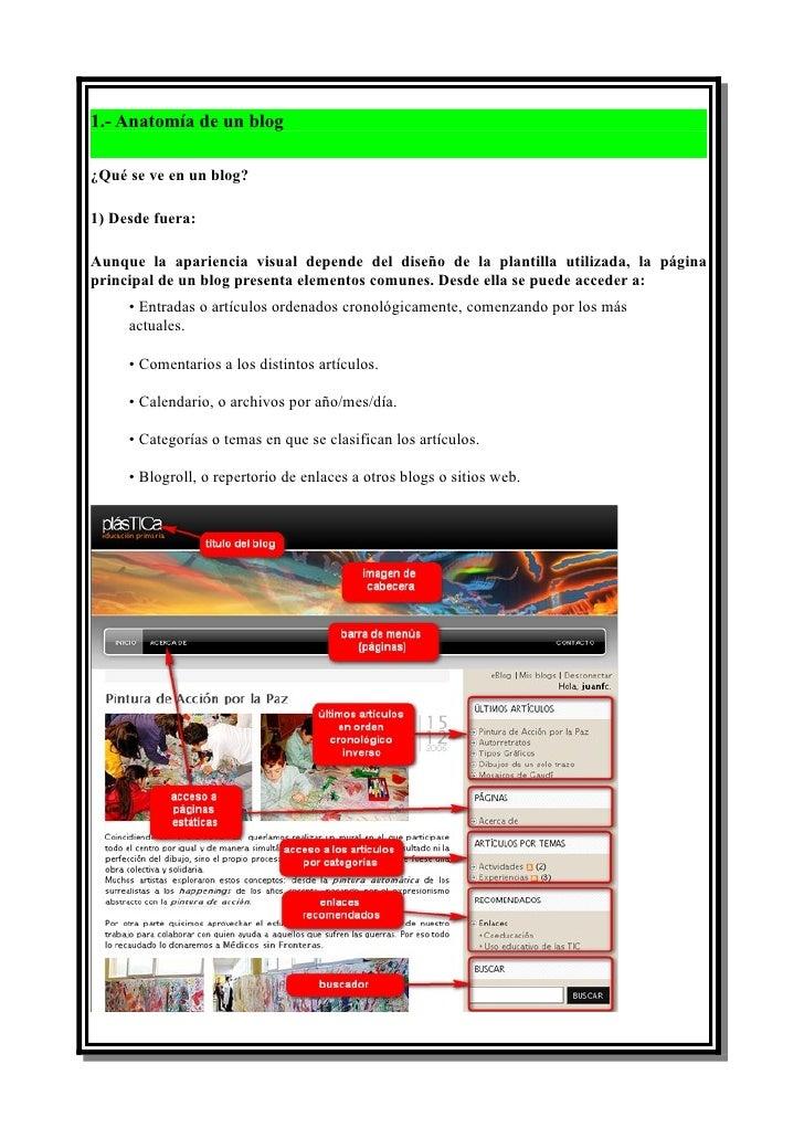 1.- Anatomía de un blog  ¿Qué se ve en un blog?  1) Desde fuera:  Aunque la apariencia visual depende del diseño de la pla...