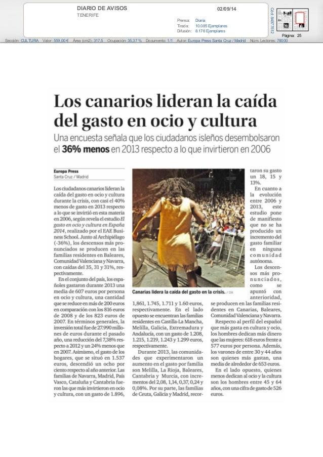 DIARIO DE AVISOS 02/09/14  TENERIFE  Prensa: Diaria  Tirada: 10.085 Ejemplares  Difusión: 8.176 Ejemplares  Página: 25  Có...