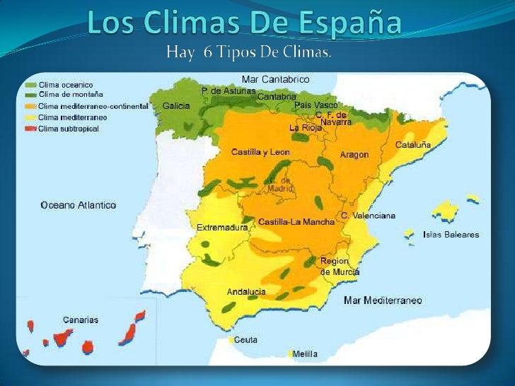 Los Climas De España<br />Hay  6 Tipos De Climas.<br />