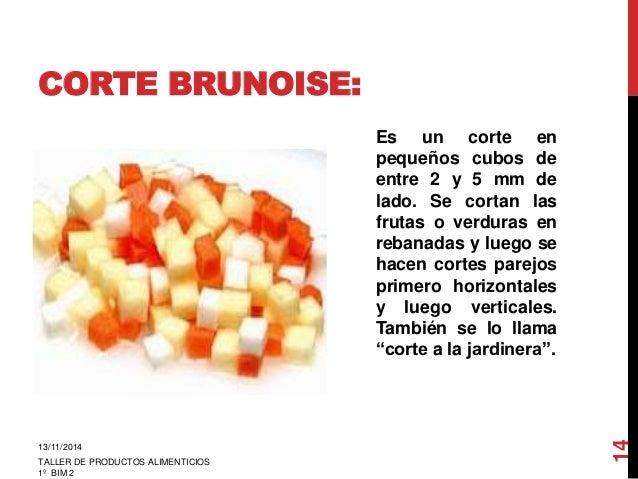 Los cortes en las verduras for Cortes de verduras gastronomia pdf