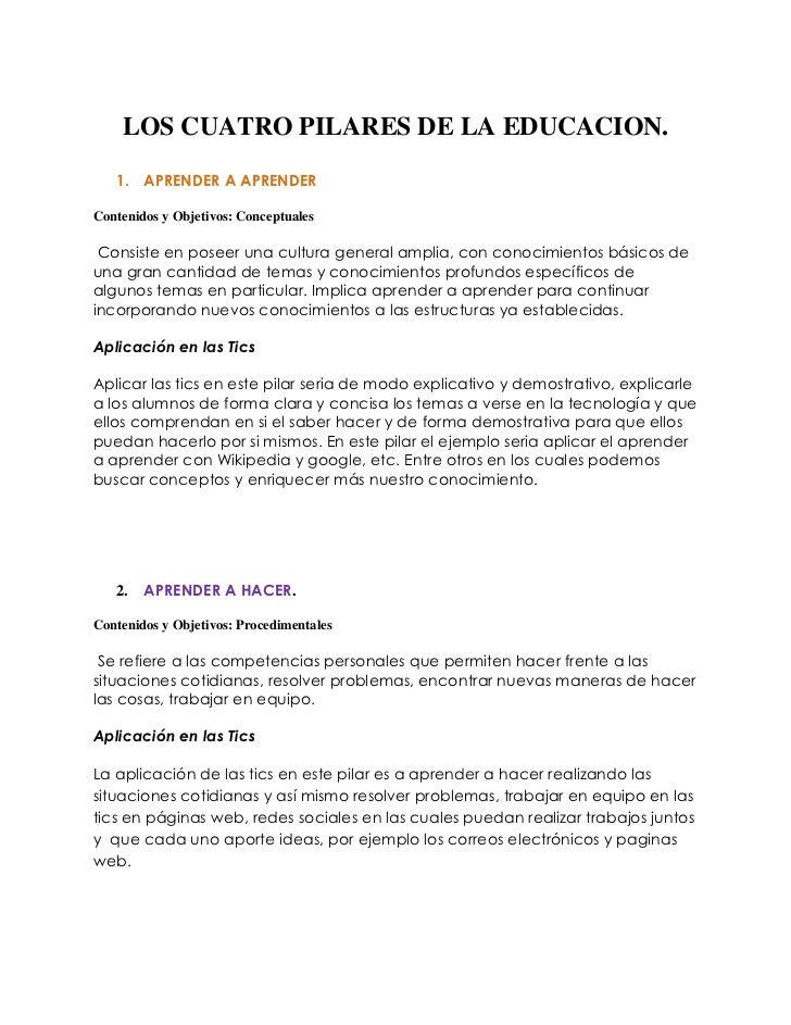 LOS CUATRO PILARES DE LA EDUCACION.<br /> Aprender a aPRENDER<br />Contenidos y Objetivos: Conceptuales <br /> Consiste en...