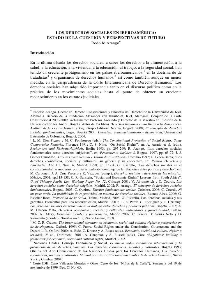 LOS DERECHOS SOCIALES EN IBEROAMÉRICA:           ESTADO DE LA CUESTIÓN Y PERSPECTIVAS DE FUTURO                           ...
