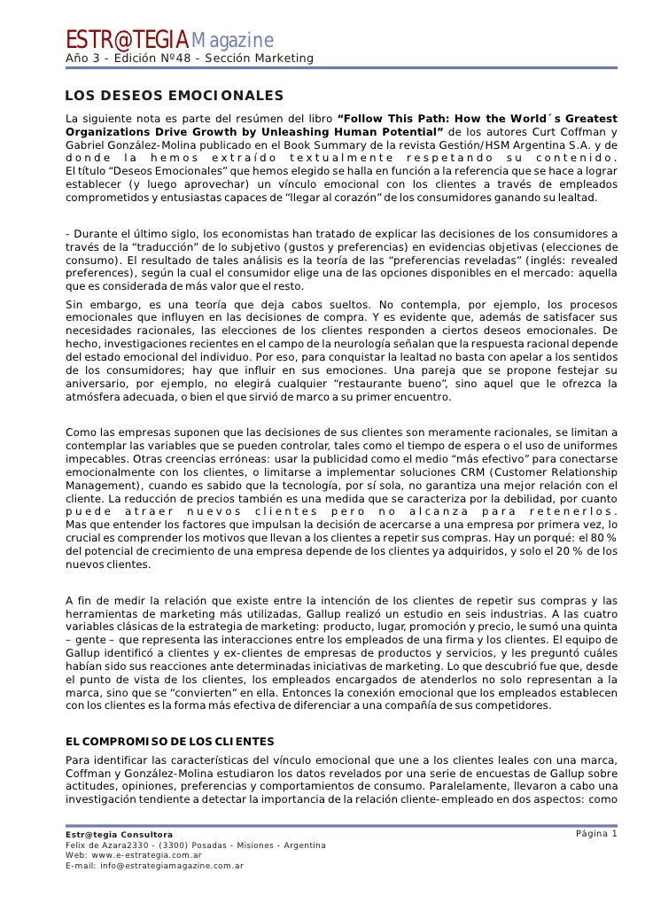 ESTR@TEGIA Magazine Año 3 - Edición Nº48 - Sección Marketing   LOS DESEOS EMOCIONALES La siguiente nota es parte del resúm...