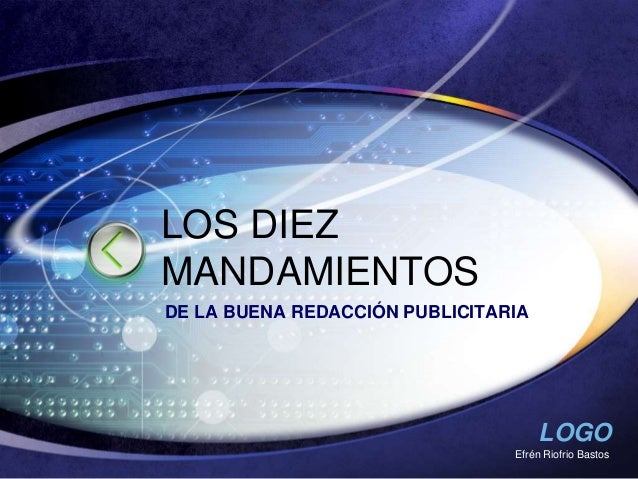 LOGO Efrén Riofrio Bastos LOS DIEZ MANDAMIENTOS DE LA BUENA REDACCIÓN PUBLICITARIA