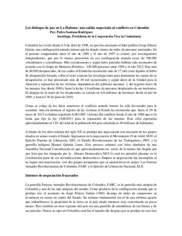 Los diálogos de paz en La Habana. ABC del Proceso de Paz con las FARC