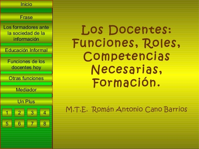 Inicio        FraseLos formadores ante  la sociedad de la     Los Docentes:                       Funciones, Roles,     in...