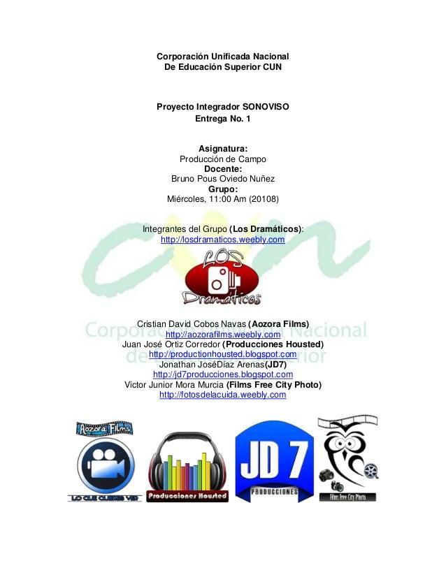Corporación Unificada Nacional         De Educación Superior CUN        Proyecto Integrador SONOVISO                Entreg...