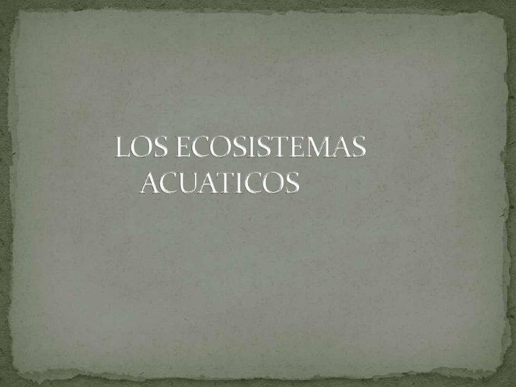 Se entiende por ecosistemasacuáticos a todos aquellosecosistemas que tienen por biotopoalgún cuerpo de agua, como puedense...